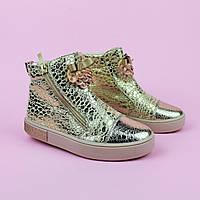 Демисезонные золотистые ботинки с бантом для девочки тм Том.м размер 27,28,29,30,31,32