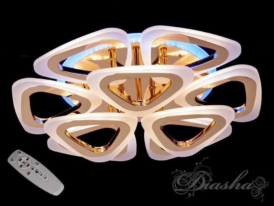 Стельова LED-люстра з діммером і підсвічуванням A8118/6+3G LED 3color dimmer