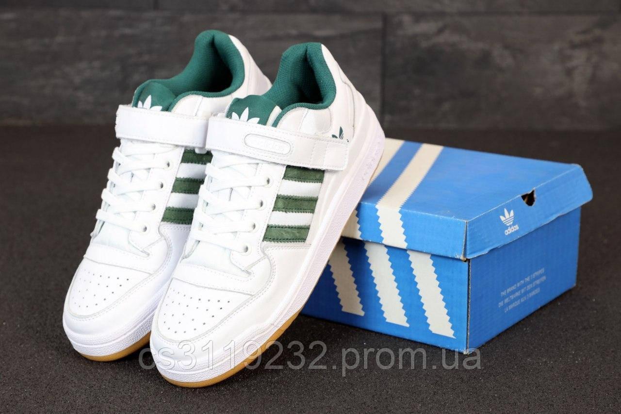 Мужские кроссовки Adidas Forum Mid White Green (белые)