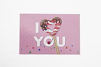 """Мини-открытка 043. 95*65 мм """"I love you"""""""
