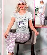 Пижама женская хлопковая футболка+брюки Турция М-2XL + повязка для сна серый цвет