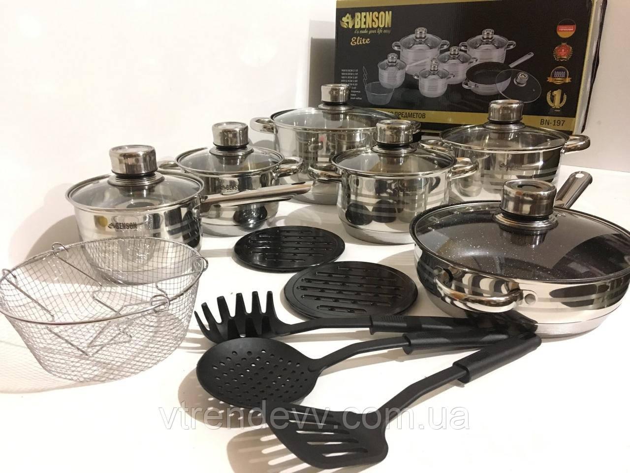 Набор посуды 18 предметов Benson Elite  BN-197