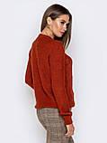 М-XL  Вязаный свитер с крупными косами на полочке терракотовый, фото 5