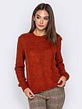 М-XL  Вязаный свитер с крупными косами на полочке терракотовый, фото 3