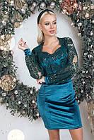 Платье женское короткое из бархата с вышивкой на сетке (К29567), фото 1