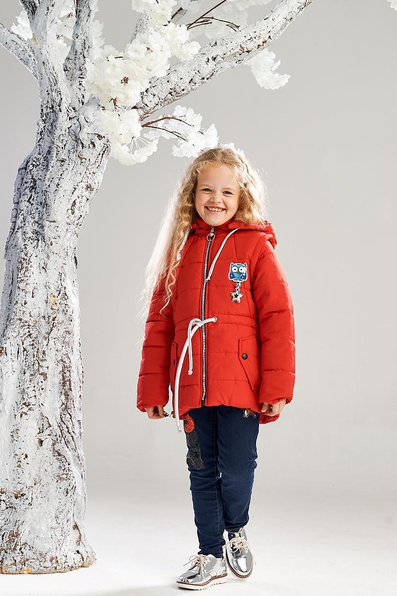 Демисезонная куртка-жилетка на девочку ANSK 128 красная K140100Z