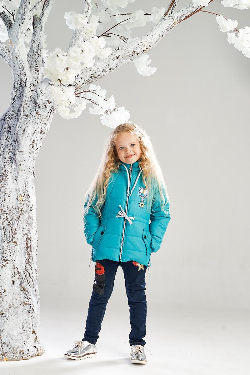 Демисезонная куртка-жилетка на девочку ANSK 122 голубая K140100Z