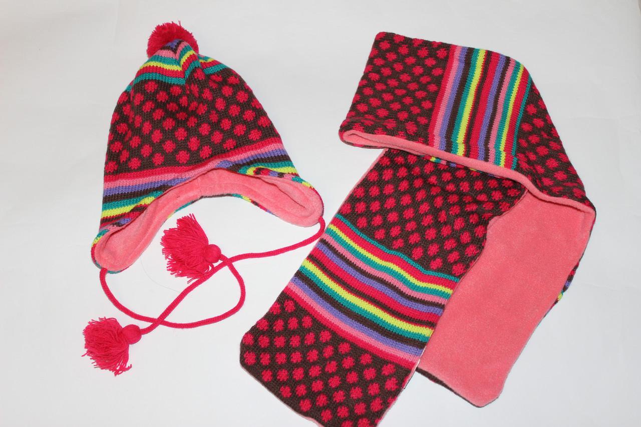 Детская шапочка и шарф для девочки на флисе  Размер  44, 46