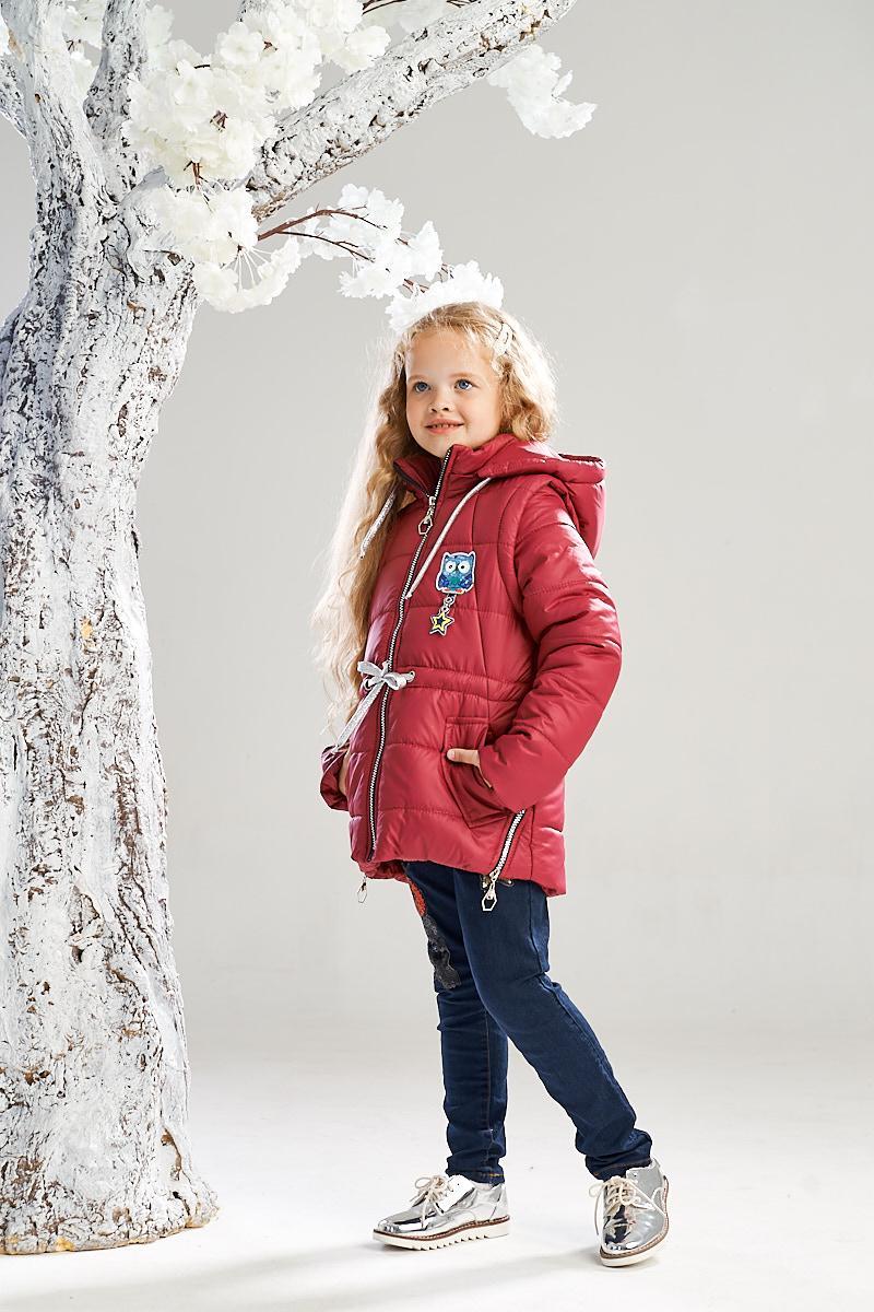 Демисезонная куртка-жилетка на девочку ANSK 134 бордовая K140100Z