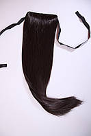 Шиньон - хвост накладной натуральные волосы на ленте, цвет черный шоколад