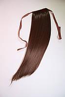 Шиньон - хвост накладной натуральные волосы на ленте, цвет шоколад