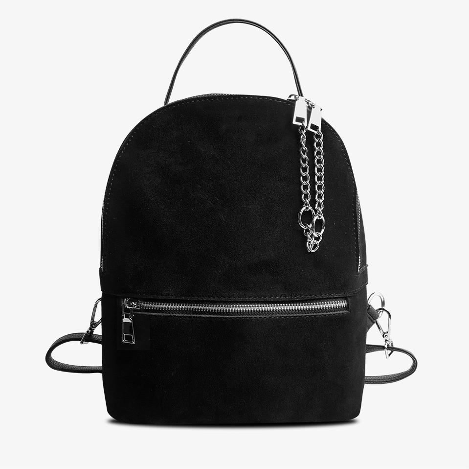Рюкзак жіночий замшевий міської стильний (чорний)