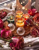 Набор из 4 цветочных свечей в баночках с крышкой, фото 1