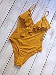 Женский совместный горчичный купальник с рюшами, фото 4