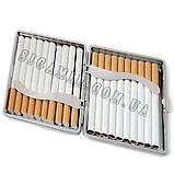 Портсигар На 20 Сигарет з Металевим Держателем Коричневий, фото 2