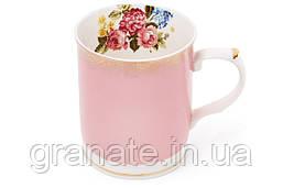 Кружка фарфоровая порцелянова 400мл, цвет - розовый с золотом