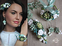 """Комплек украшений с цветами ручной работы """"Суккуленты с розами""""(длинные серьги+заколка + браслет), фото 1"""