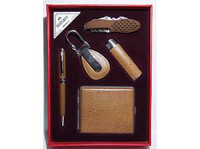 Зажигалка + ручка + брелок + нож + портсигар.