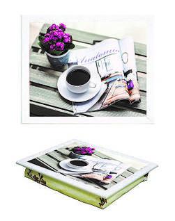 Поднос с подушкой BST 040389 44*36 белый Газета и кофе