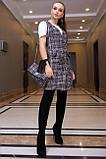 Плаття-сарафан твідове пряме в клітку (чорна в білу клітинку, р. S-XL), фото 2