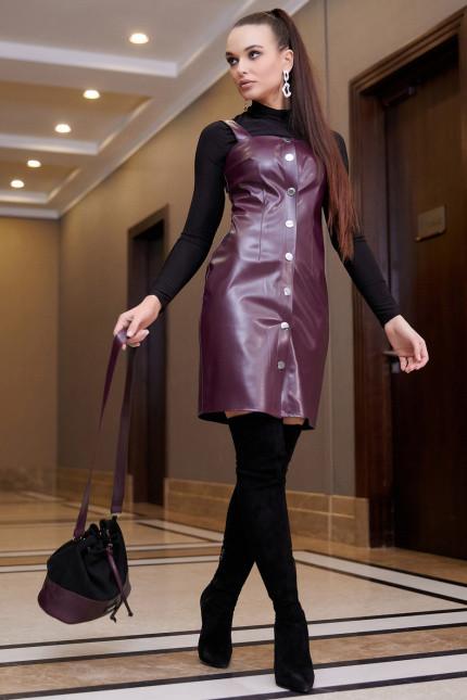 Платье-сарафан гламурное из эко-кожи (3 цвета, р.S-XL)