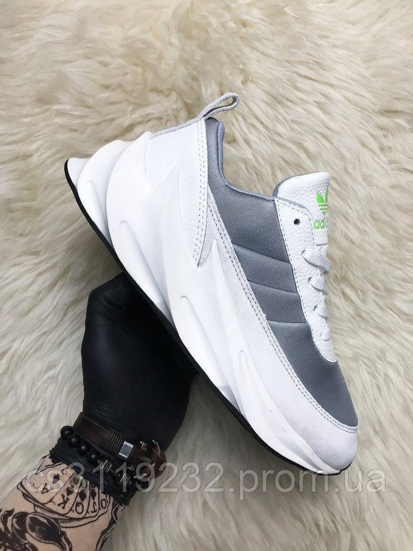 Мужские кроссовки Adidas Sharks White Gray (серо-белые)