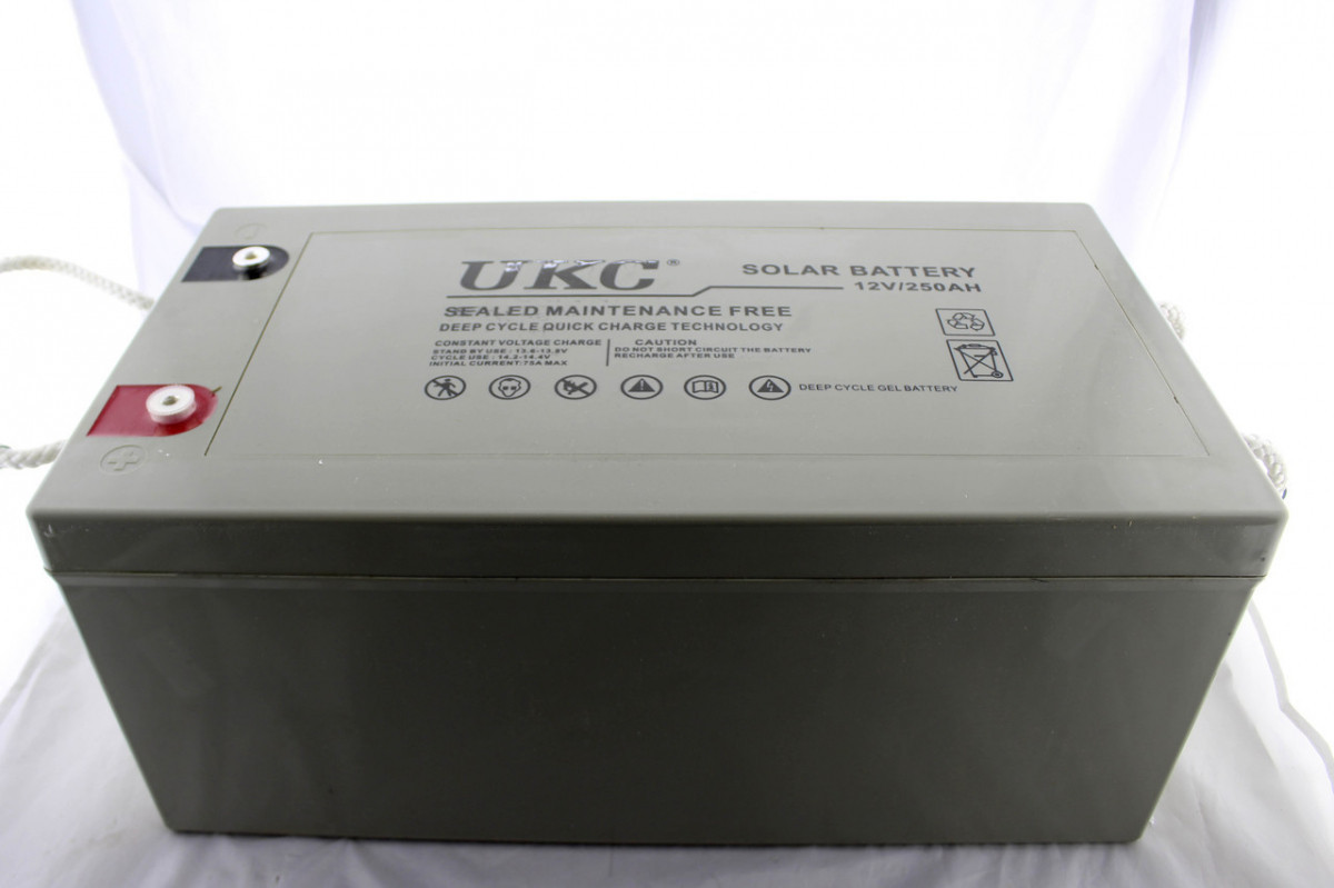 Аккумулятор гелиевый UKC BATTERY GEL, напряжение 12V, емкость 250A, бытовой аккумулятор