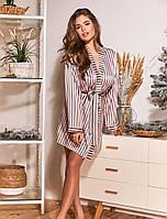 Сатиновый короткий халат. Женская одежда для дома и сна