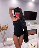 Боди женский на одно плечо чёрный красный