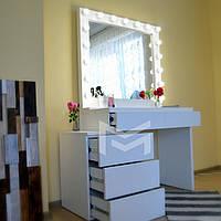 Гримерный стол Milan со смещенной тумбой. Ящики без ручек открываются от нажатия (КЛИК)., фото 1