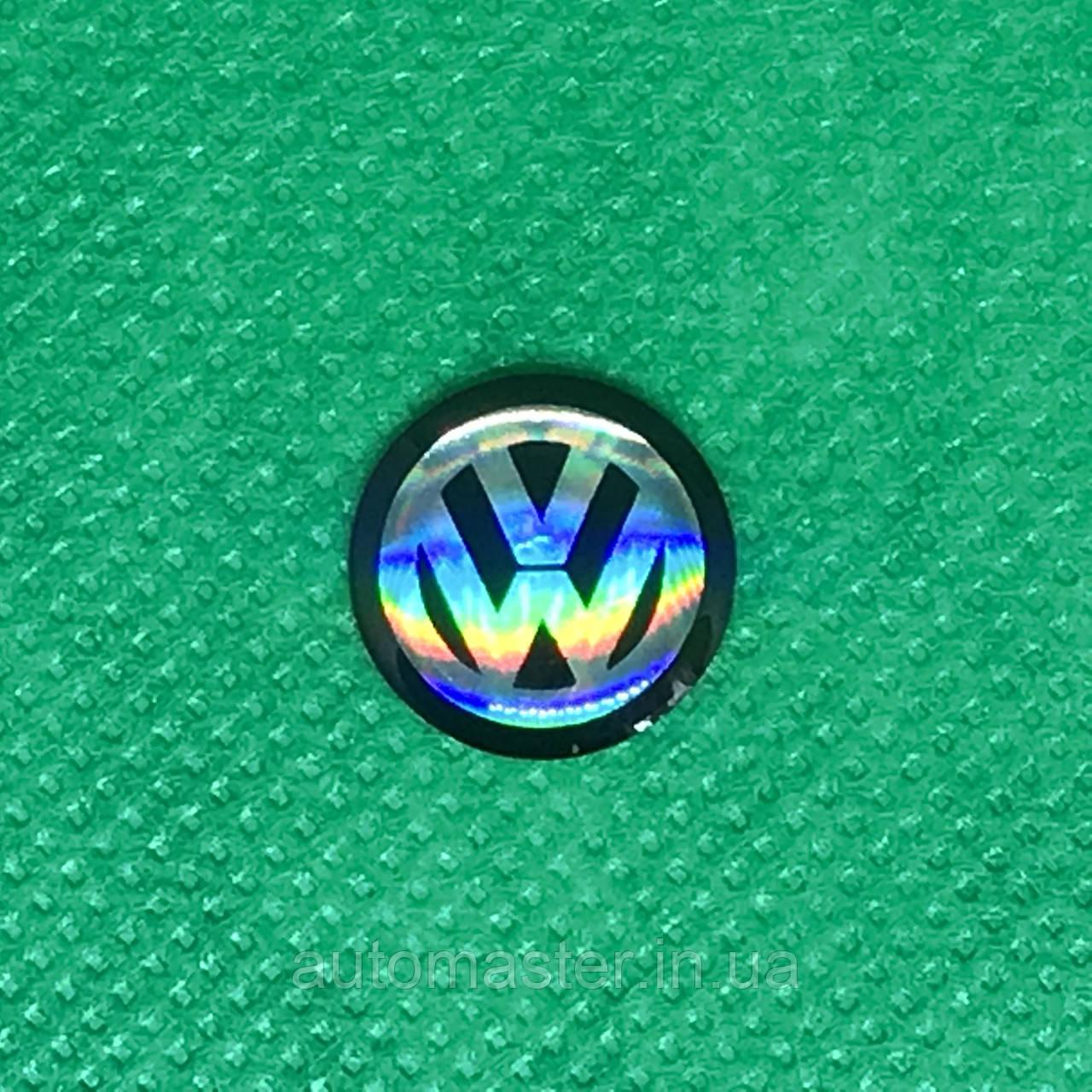Логотип для авто ключа VW фольксваген черный 14 мм