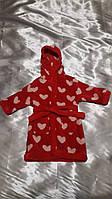 Красный махровый халатик в сердечки