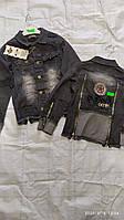 Куртка джинсовая для мальчика на 7-10 лет серого цвета с нашивками оптом