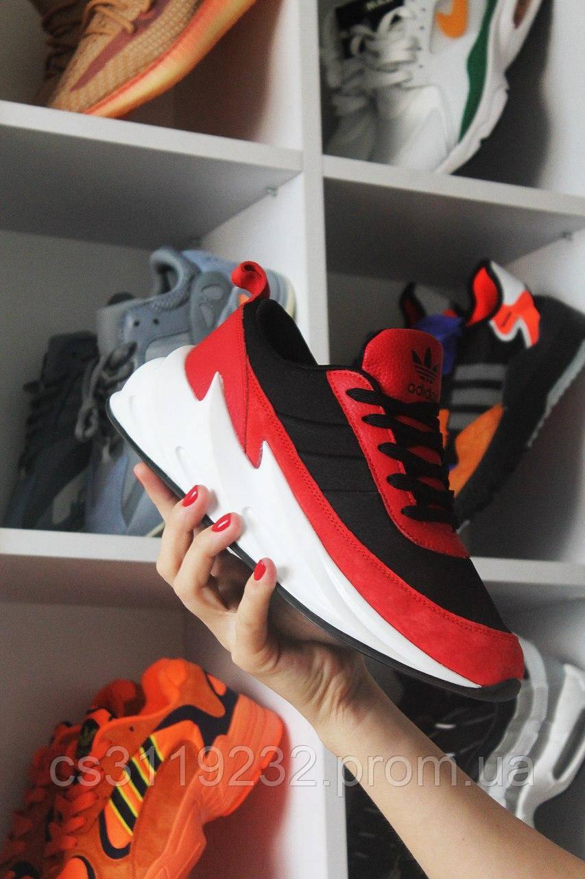 Мужские кроссовки Adidas Sharks Black Red White  (черный/красный/белый)