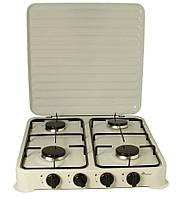 Плита газова настільна Domotec MS 6604 на 4 конфорки, біла