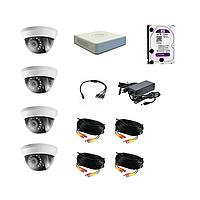 Комплект 4 камеры FullHD, регистратор, HDD, кабель, блок питания