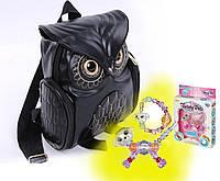 Модный женский рюкзак Сова (кожаный черный портфель) + браслет Twisty Pets в подарок!