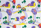 """Тюль вуаль """"Дорожки и машинки"""", фиолет, красный, желтый, зеленый, фото 3"""