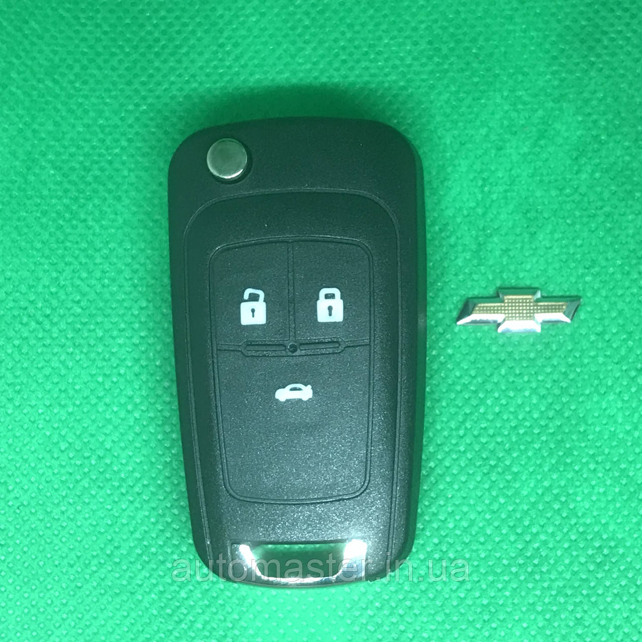 Выкидной ключ для Chevrolet (Шевролет) Cruze 3-кнопки 433 MHZ чип ID 46 Лезвие HU100