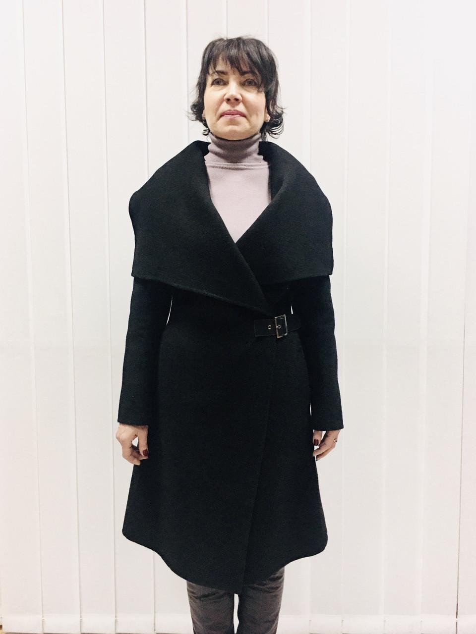 Пальто женское демисезонное в стиле Армани черное на запах без подклады