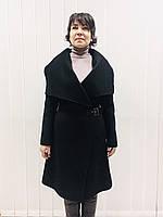 Пальто женское демисезонное в стиле Армани черное на запах без подклады, фото 1