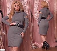 Стильное однотонное платье вязка размеры 48-56 арт 4449
