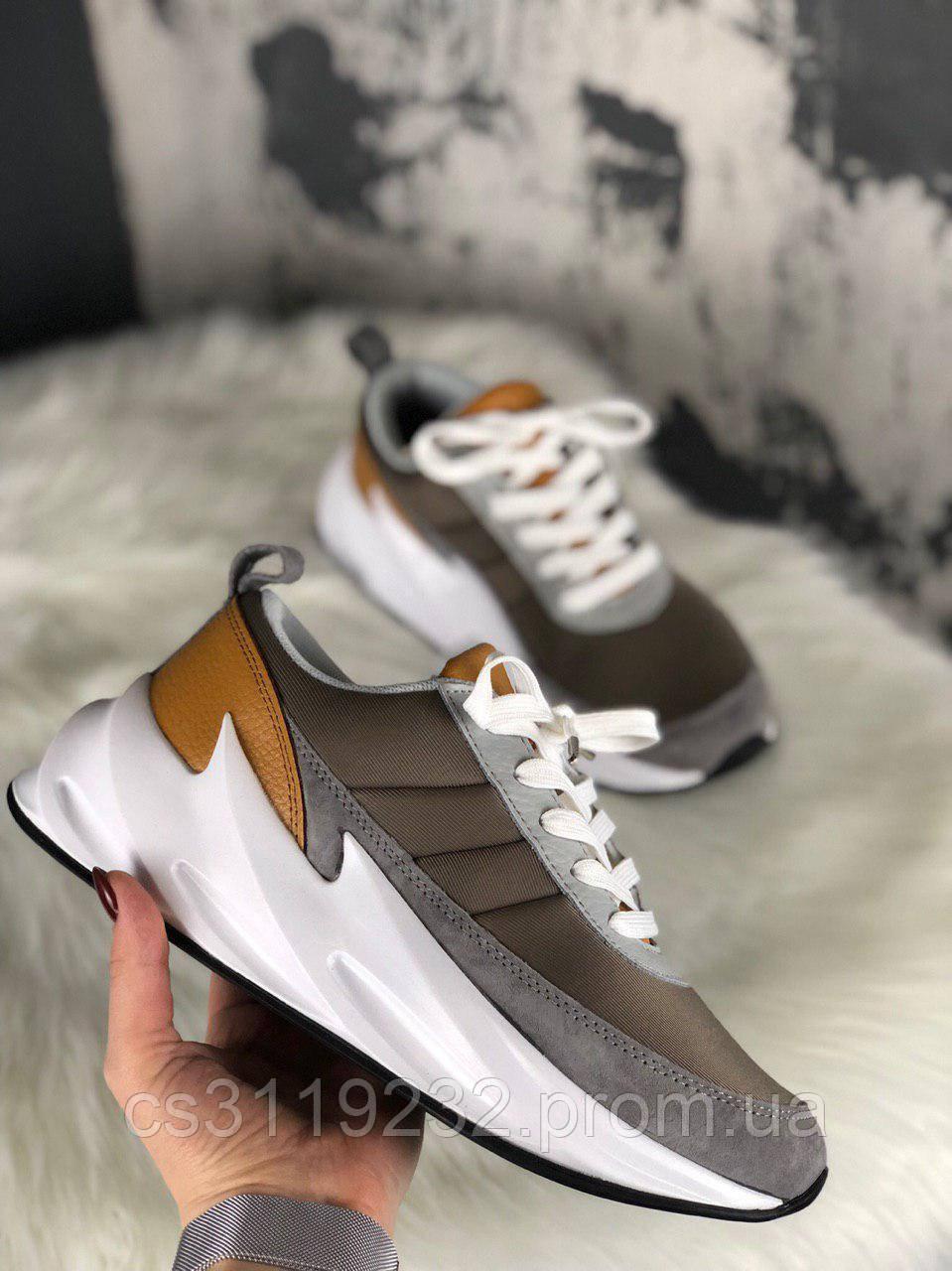 Женские кроссовки Adidas Sharks Brown Grey White (коричневый/серый/белый)