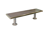 """Парковая скамейка """"Алиса"""" 1600х450хН426 мм из прочной нержавеющей полированной стали с перфорацией, фото 1"""