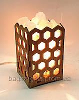 Соляной светильник Камин с кристаллами соли Соты