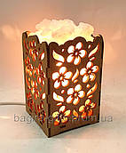 Соляний світильник Камін з кристалами солі квіти