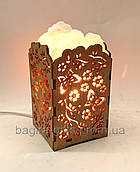 Соляной светильник Камин с кристаллами Бабочки
