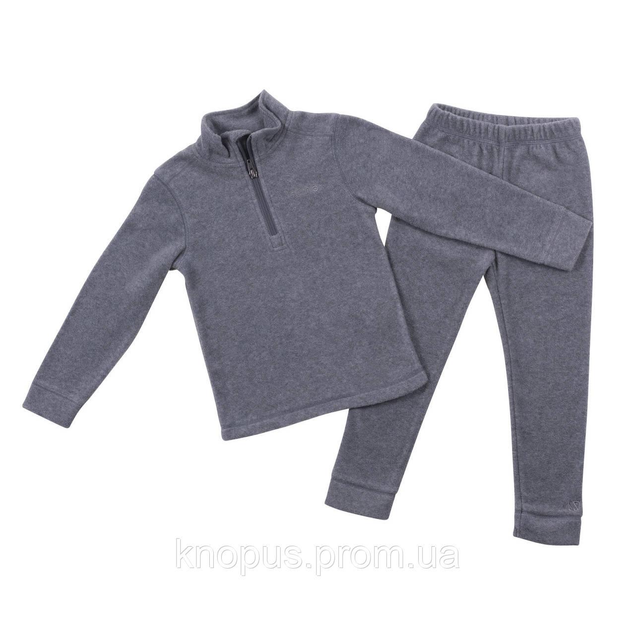 Костюм флисовый (джемпер на короткой молнии + брюки)  серый,черный, Nano, размеры ,от 9 2 до 152 лет