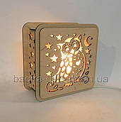 Соляний світильник Квадратний дерев'яний Сова