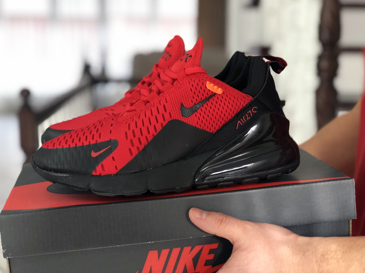 Мужские кроссовки Nike Air Max 270,сетка,красные с черным